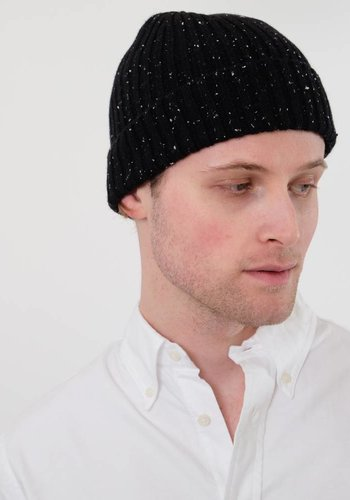Black Flecked Cashmere Stocking Cap