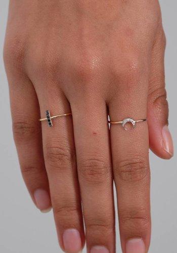 I and I White Diamond Crescent Moon Ring