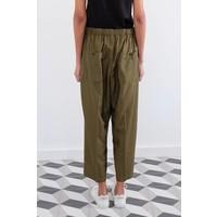 Cropped Drawstring Elastic Pants