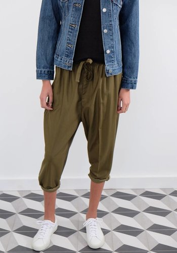 Chimala Cropped Drawstring Elastic Pants