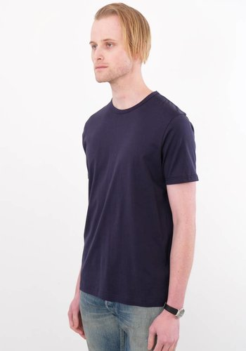 Sunspel Navy Jersey Knit Short Sleeve Crew Neck