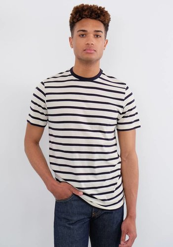 Sunspel Short Sleeve Striped Crew Neck T-Shirt