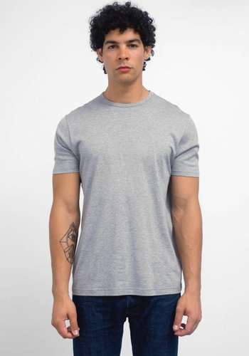 Sunspel Grey Melange Jersey Knit Short Sleeve Crew Neck