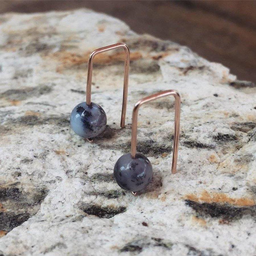 14k Moss Opal Staple Earrings