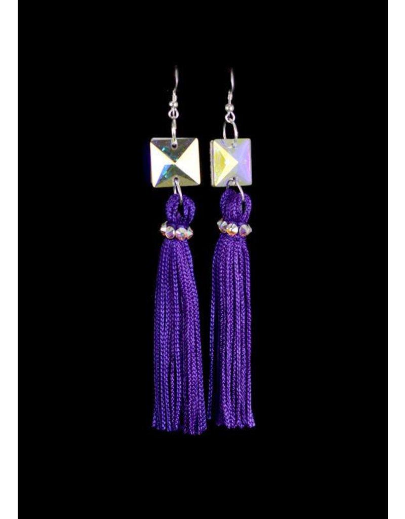 Crystal AB Purple Tassel