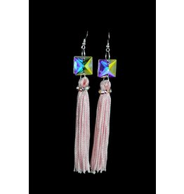 Crystal AB Light Pink Tassel