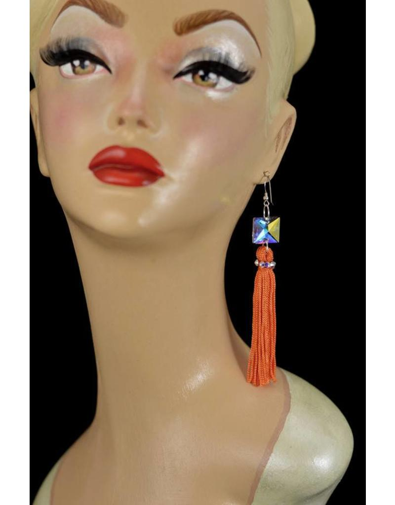 Crystal AB Orange Tassel