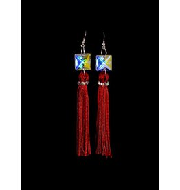 Crystal AB Red Tassel
