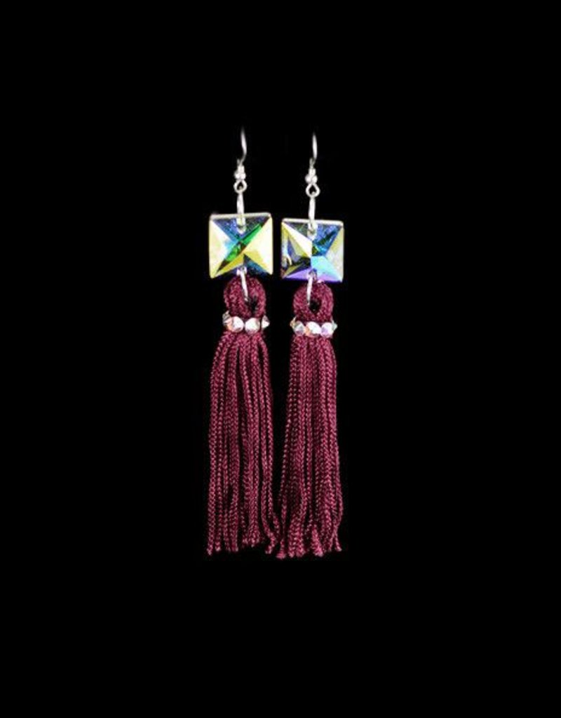 Crystal AB Marroon Tassel