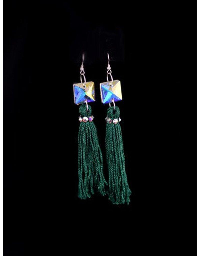 Crystal AB Emerald Tassel