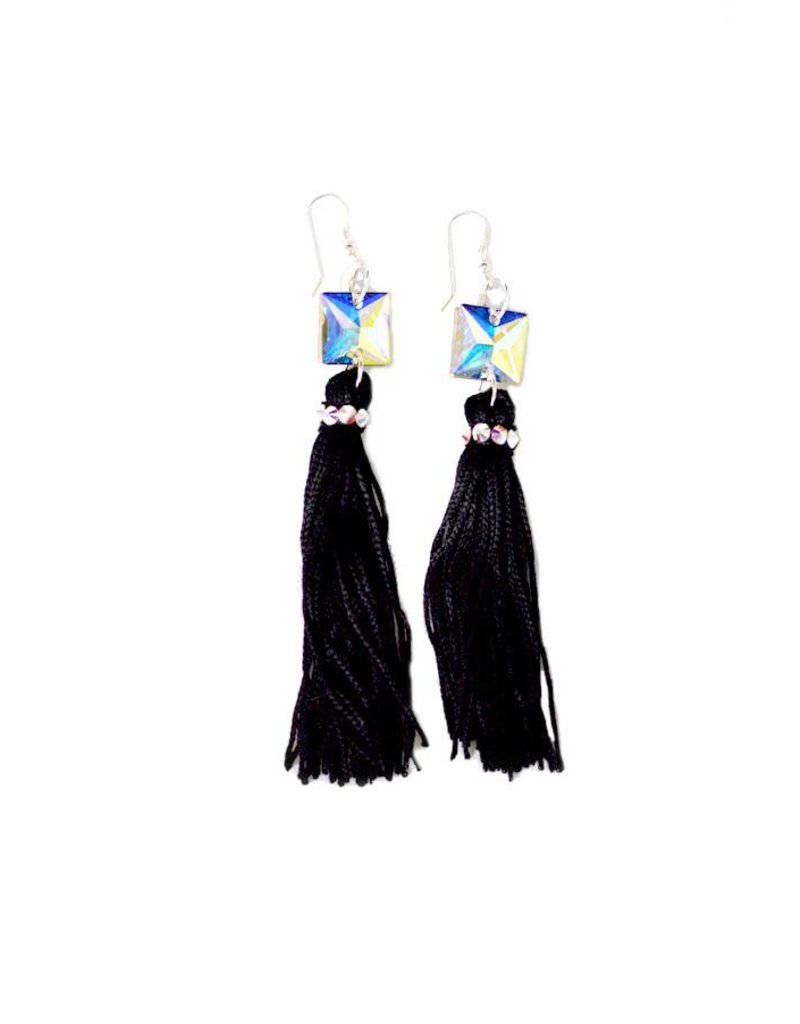 Crystal AB Black Tassel