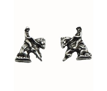 Retro Silver Reining Horse Earrings