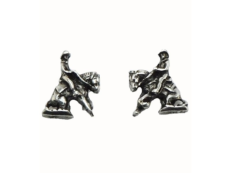 Finishing Touch of Kentucky Retro Silver Reining Horse Earrings