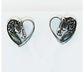 Horse Head Heart Earrings