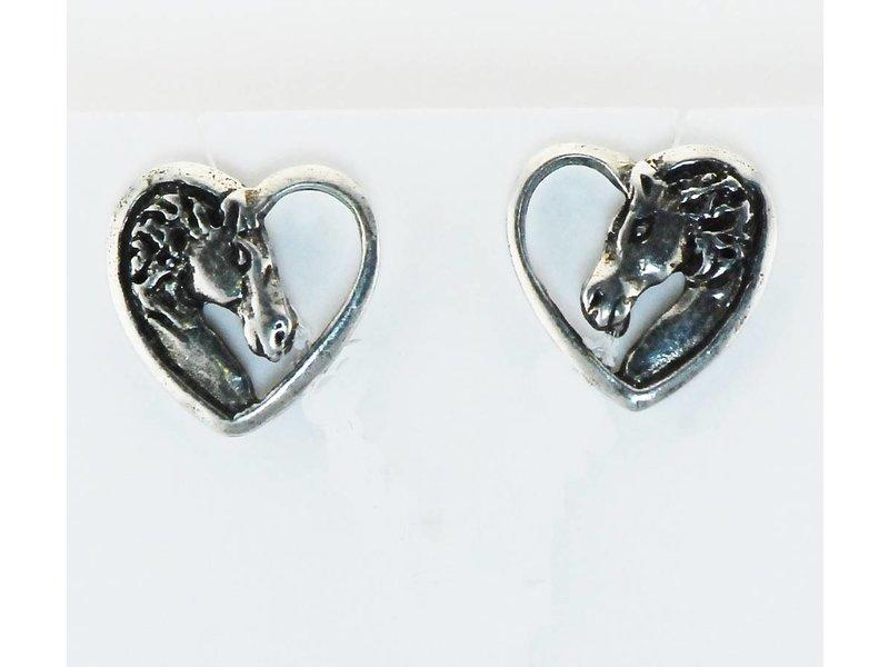Finishing Touch of Kentucky Horse Head Heart Earrings