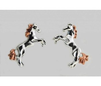 Two-Tone Rearing Horse Earrings