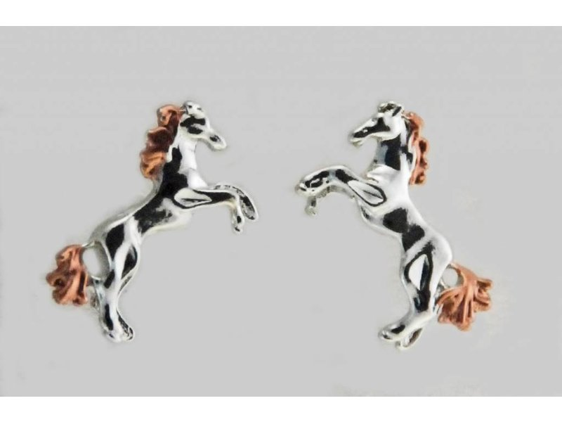 Finishing Touch of Kentucky Two-Tone Rearing Horse Earrings