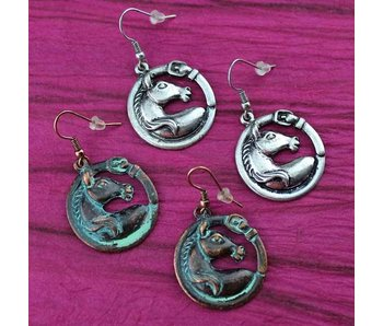 Horse Head & Buckle Earrings