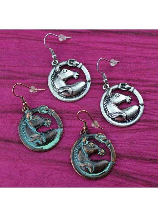 Horse Head & Buckle Earrings