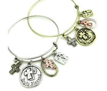 Truly Blessed Mixed Charm Wire Bracelet