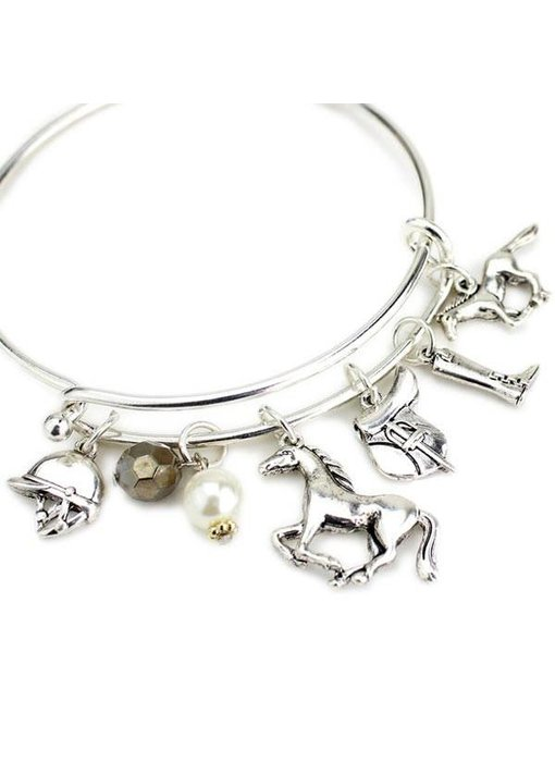English Horse Charms Wire Bracelet