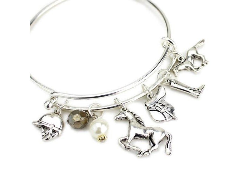 Wyo-Horse English Horse Charms Wire Bracelet