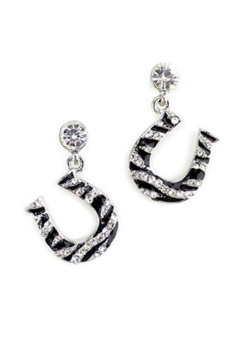 Rhinestone Zebra Horseshoe Earrings
