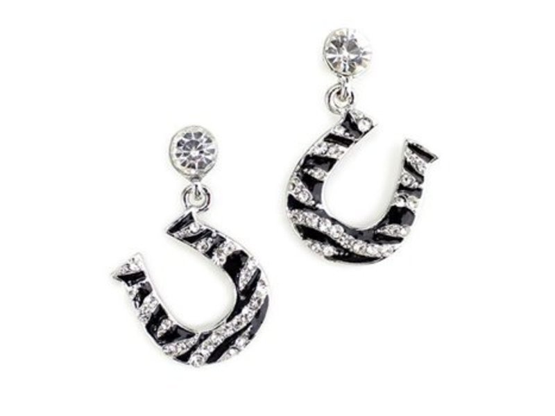 Wyo-Horse Rhinestone Zebra Horseshoe Earrings
