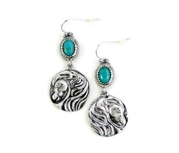 Silver Horse Head Medallion Earrings