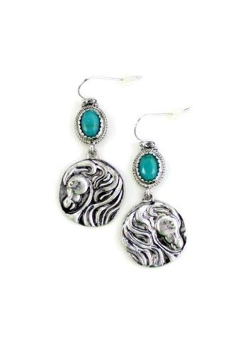 Silver Horse Head Medallion Earrings