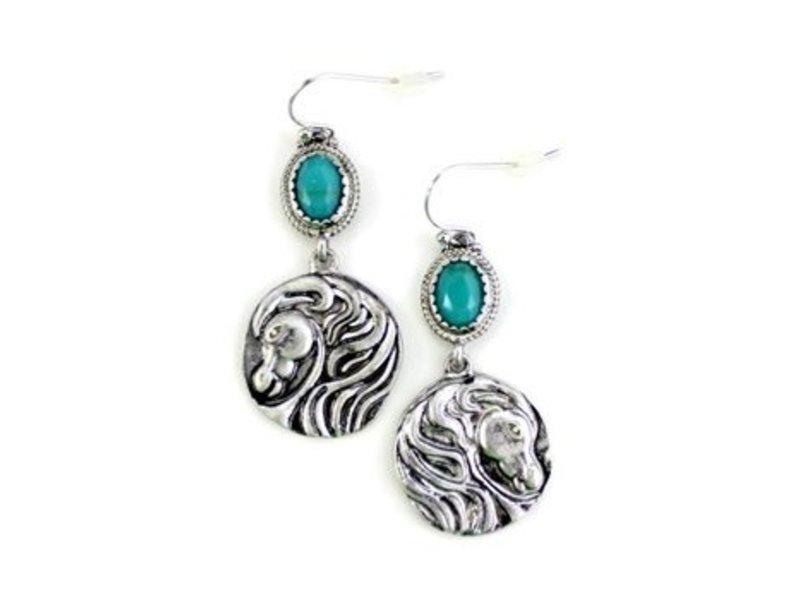 Wyo-Horse Silver Horse Head Medallion Earrings