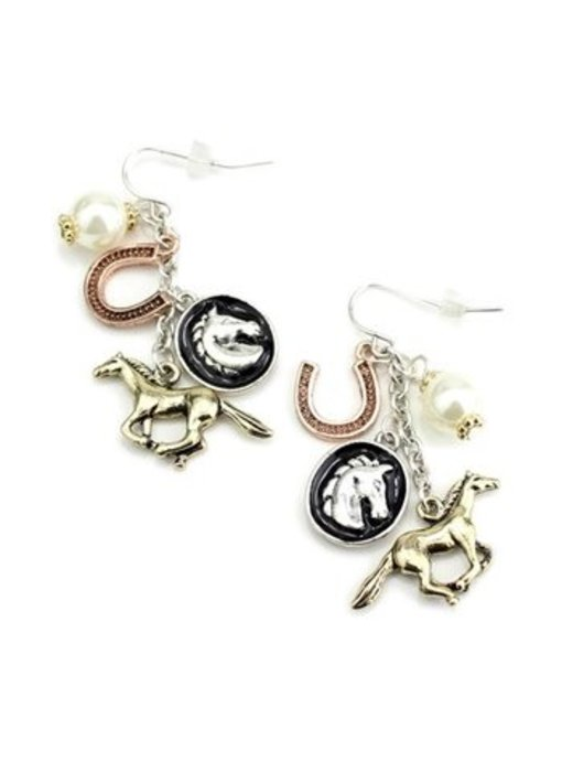 Horse Charms Wire Earrings