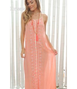 Z and L T-Back Embroidered Maxi Dress