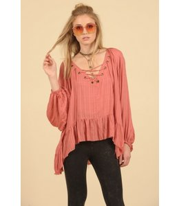 Vintage Havana Brick Lace-up Oversized Blouse