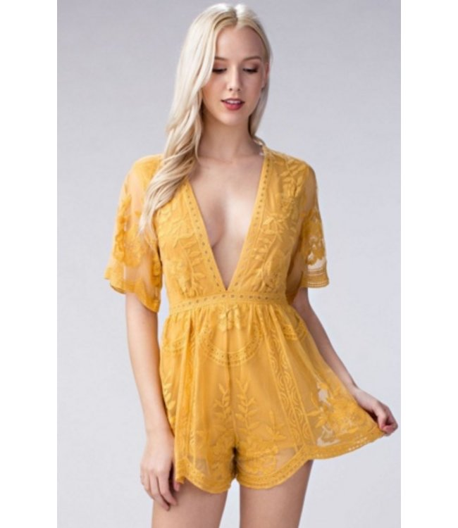 Honey Punch Yellow Deep V Lace Romper