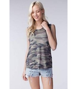Honey Punch Scoop Neck Camo Muscle Tee