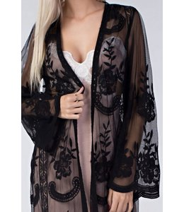 Honey Punch Black Lace Kimono
