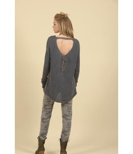 Vintage Havana Washed Denim Star Lace-up Back Sweater