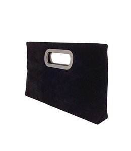 Vincero DBA City Design Group Rich Black Microsuede 2-way Clutch