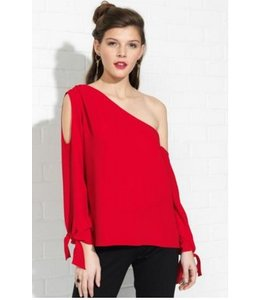 Amanda Uprichard Red Lipstick Crawford Top