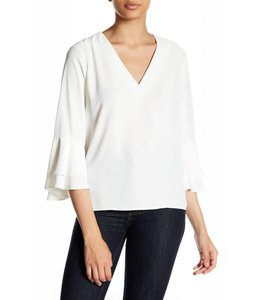 FATE Cream V-Neck Bell Sleeve Top