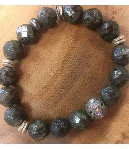 Facets, etc Pyrite Vintage Crystal Bracelet