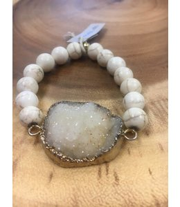 Facets, etc Howlite w/Pale Druzy Bracelet