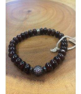 Facets, etc Garnet w/ Pave Bead Bracelet