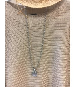 Facets, etc Lucky Horseshoe Druzy Necklace
