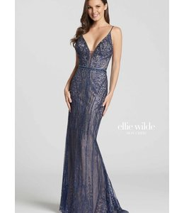 Ellie Wilde by Mon Cheri Navy Nude Jeweled Gown