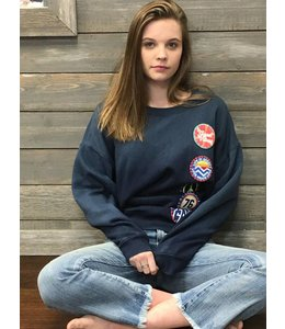Vintage Havana Navy Retro Patch Sweatshirt