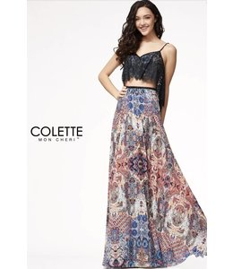 Colette by Mon Cherie Boho Lace Ruffle Two Piece Evening Dress