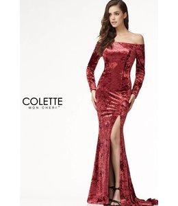 Colette by Mon Cherie Sexy Velvet Open Back Turquoise Evening Dress