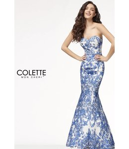 Colette by Mon Cherie Mermaid Corset Black and White Printed Lace Dress